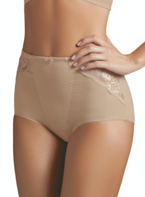 Panty clásico control abdómen elaborado en materiales de lycra, algodón, powernet y encaje. Tiro alto para mayor control de la figura.